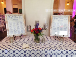 Entry table with seating charts